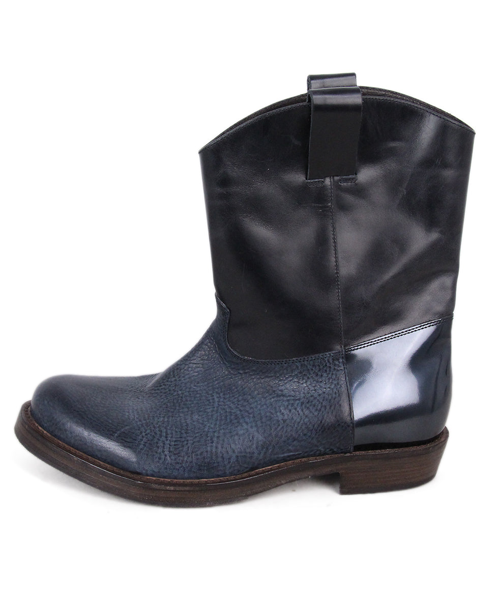Brunello Cucinelli Navy Black Leather Booties 2