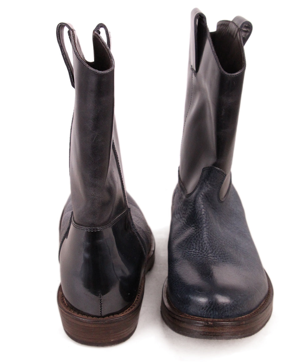Brunello Cucinelli Navy Black Leather Booties 3