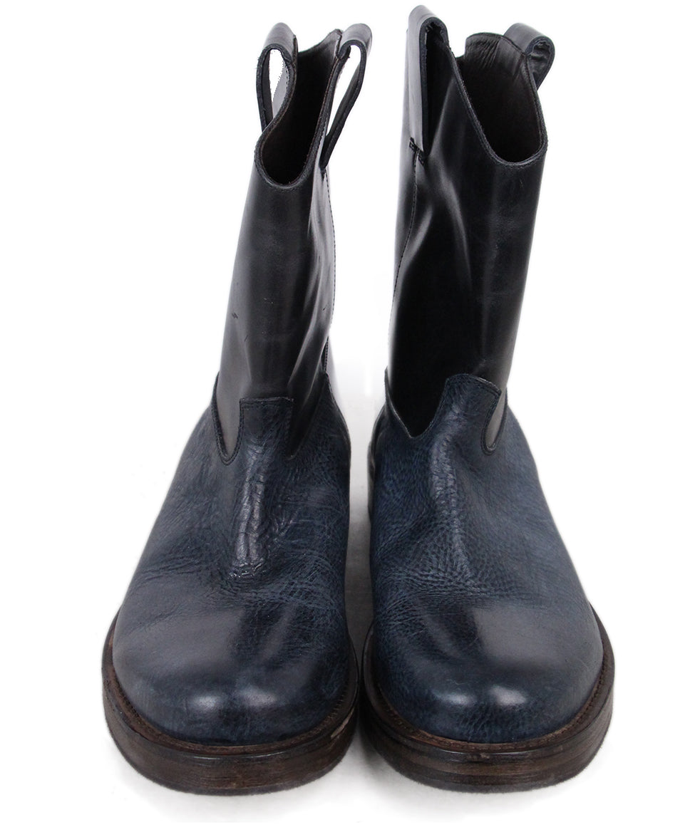 Brunello Cucinelli Navy Black Leather Booties 4