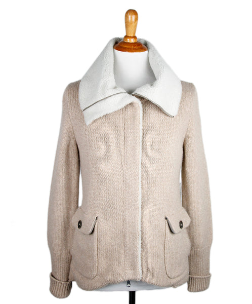 Brunello Cucinelli Neutral Cashmere Jacket Sz M