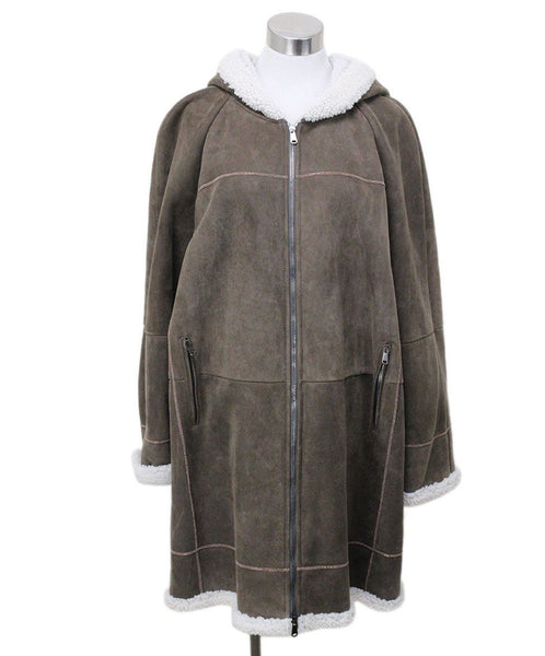 Brunello Cucinelli Taupe Shearling Coat