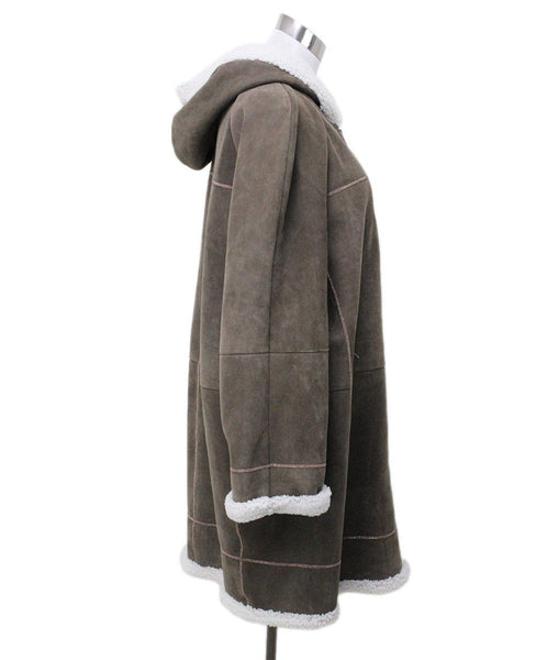 Brunello Cucinelli Taupe Shearling Coat 1