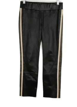 Brunello Cucinelli Black Brown Leather Pants 1