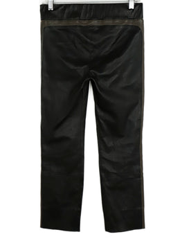 Brunello Cucinelli Black Brown Leather Pants 2