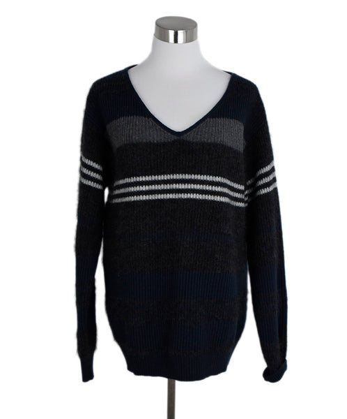 Brunello Cucinelli Navy Charcoal Wool Mohair Sweater 1