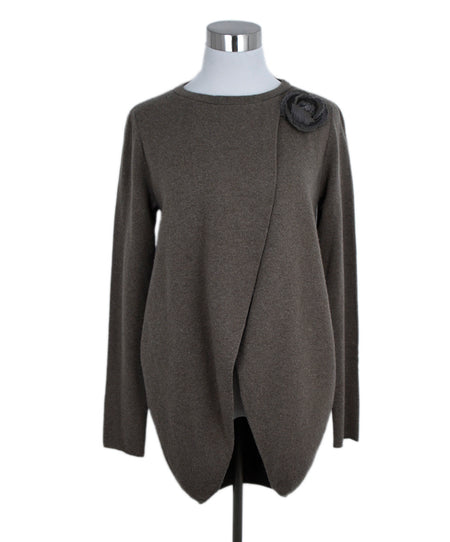 Chanel Grey Cashmere Sequins Sweater Sz 2