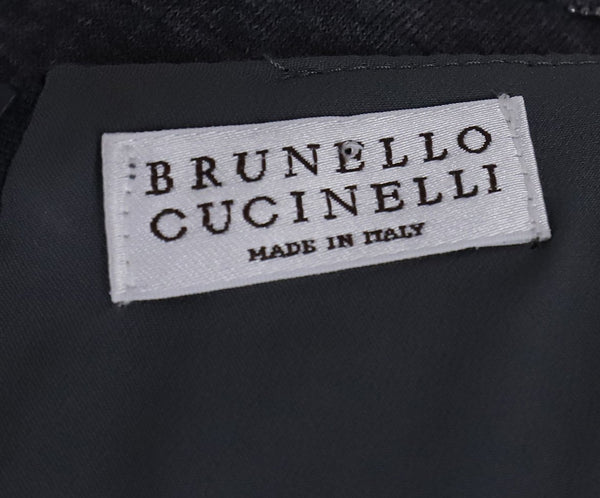 Brunello Cucinelli Charcoal Wool Chain Trim Dress 4
