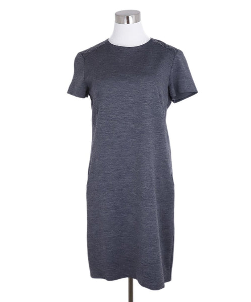 Brunello Cucinelli Charcoal Wool Chain Trim Dress 3