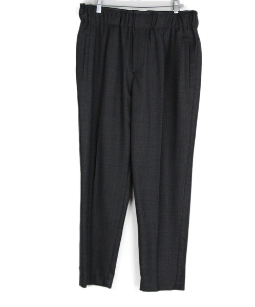 Brunello Cucinelli Grey Charcoal Wool Silver Beaded Trim Pants 1