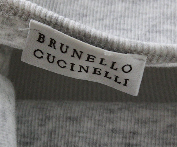 Brunello Cucinelli Grey Cotton Metal Trim Top 3