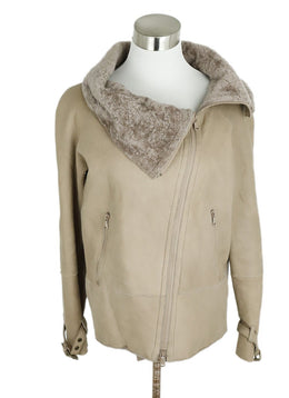 Brunello Cucinelli Neutral Taupe Shearling Coat 2
