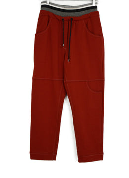 Brunello Cucinelli Red Cotton Pants 1