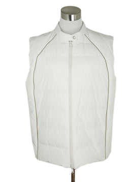 Vest Brunello Cucinelli Size 14 White Down Silver Chain Trim Outerwear 1