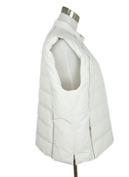 Vest Brunello Cucinelli Size 14 White Down Silver Chain Trim Outerwear 2