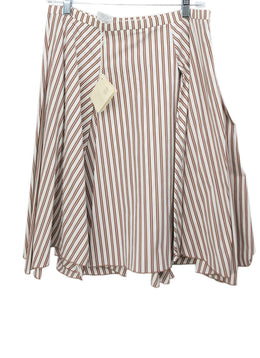Brunello Cucinelli Brown White Stripes Skirt 2