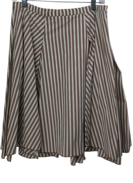 Brunello Cucinelli Brown White Stripes Skirt 1