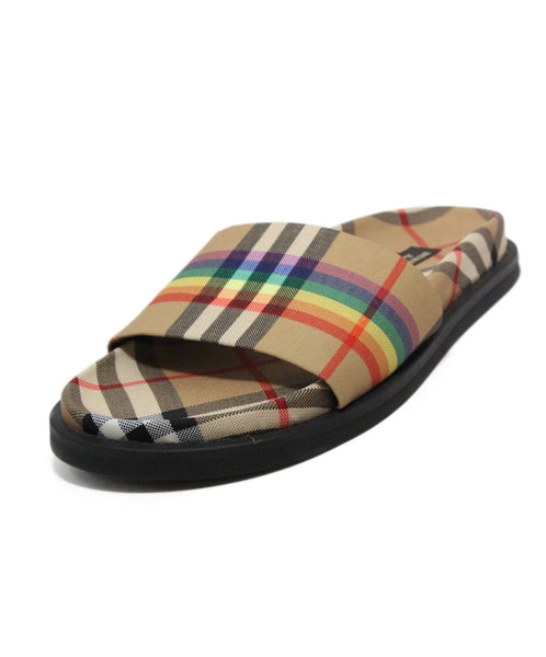 Burberry Beige Plaid Rainbow Canvas Sandals 1