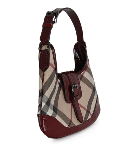 Burberry Beige Plaid burgundy Handbag 1