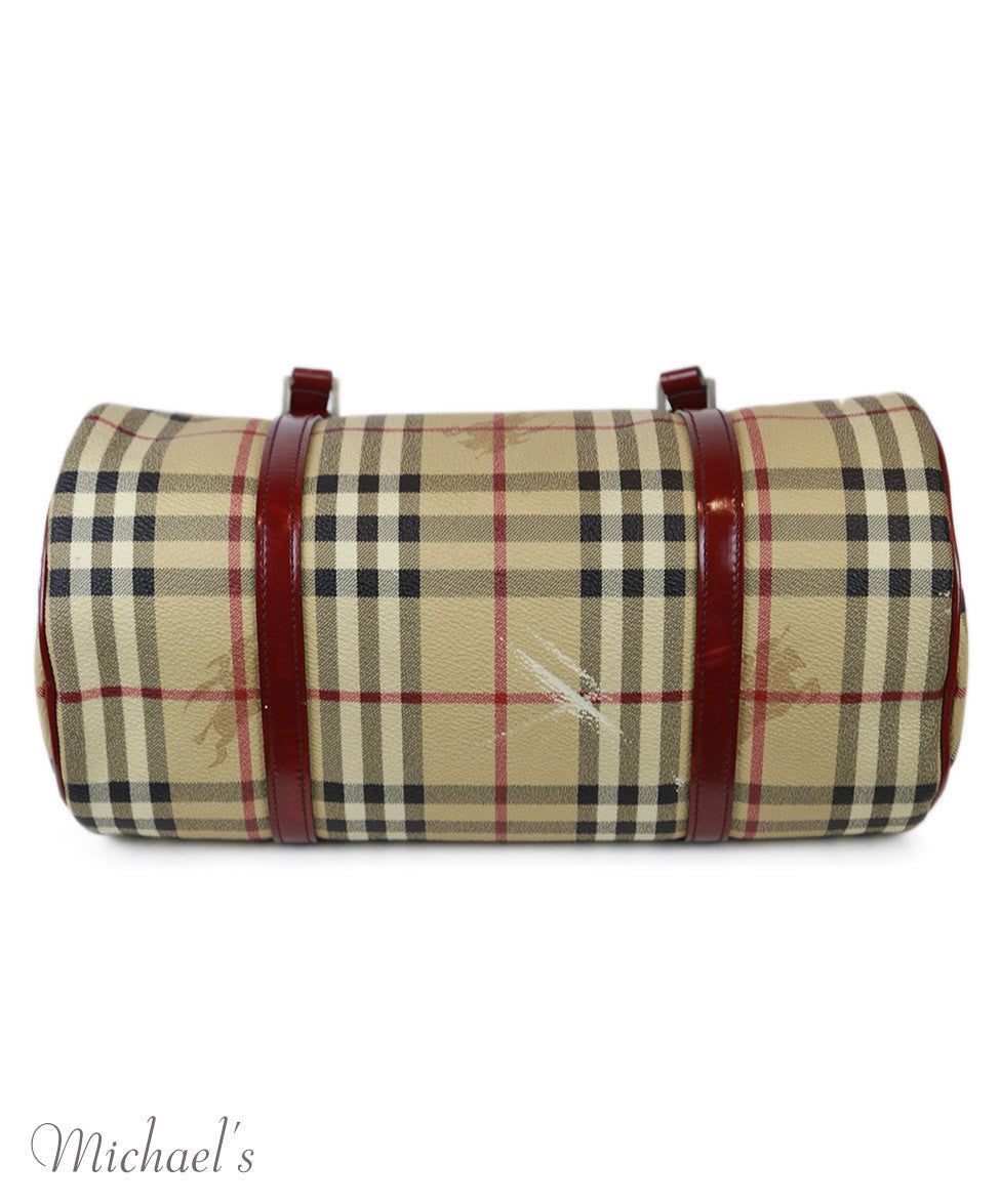 Burberry Beige Red Black Canvas Plaid Handbag