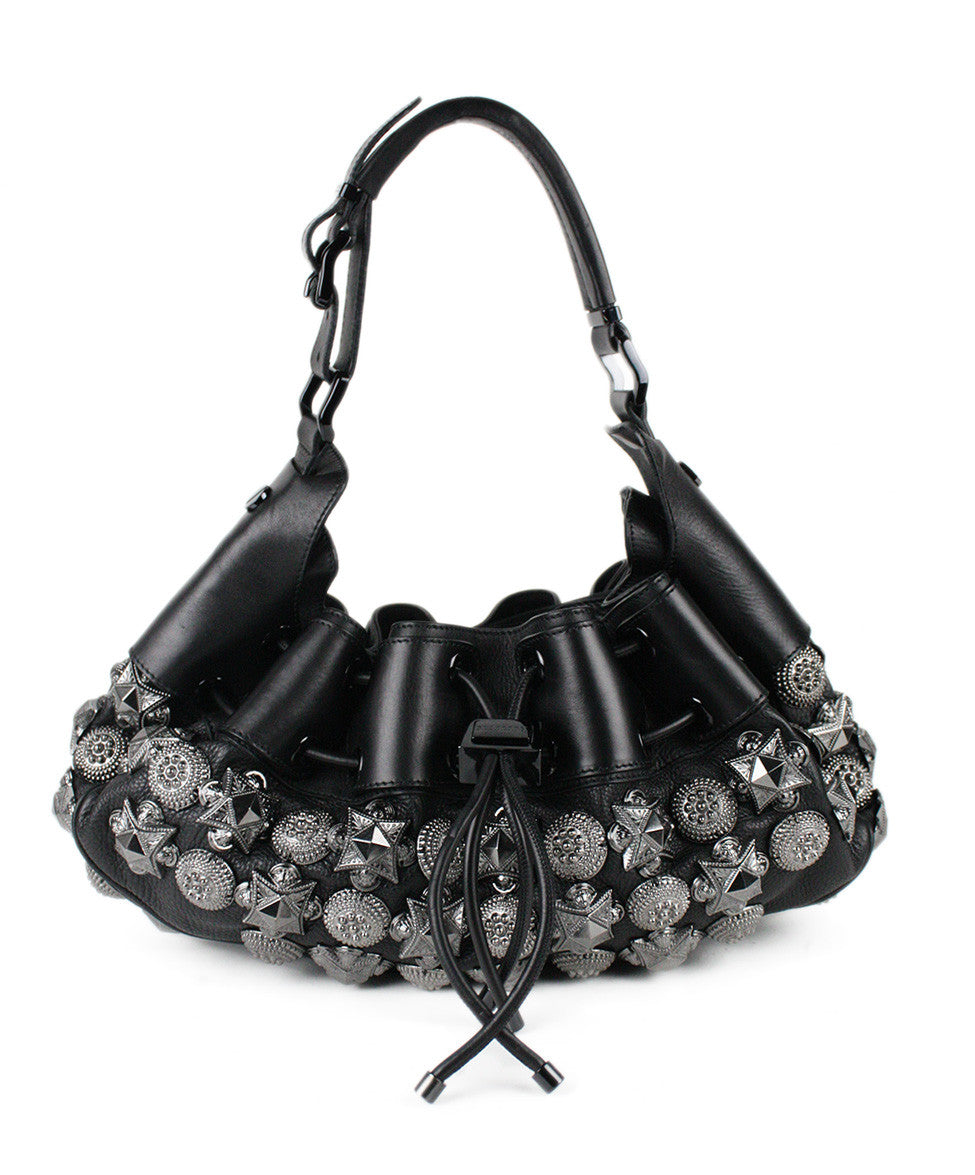 Burberry Prorsum Mason Warrior Black Leather Pewter Embellishment Hobo Bag - Michael's Consignment NYC  - 1