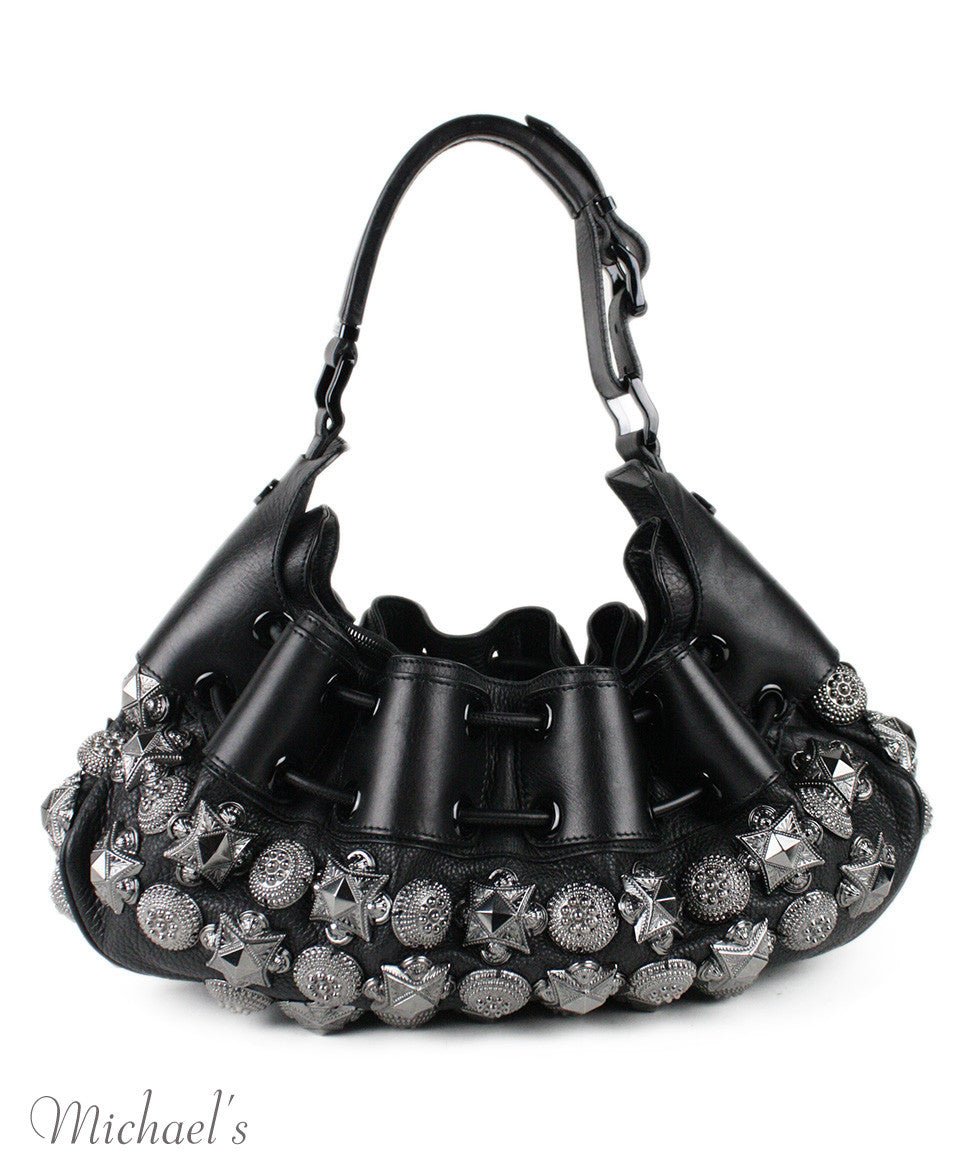 Burberry Prorsum Mason Warrior Black Leather Pewter Embellishment Hobo Bag - Michael's Consignment NYC  - 3