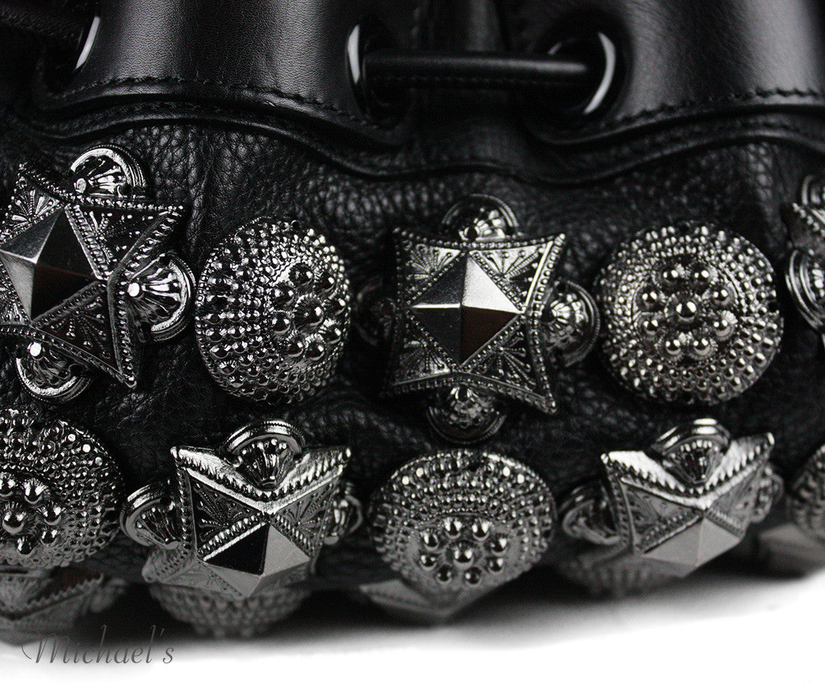 Burberry Prorsum Mason Warrior Black Leather Pewter Embellishment Hobo Bag - Michael's Consignment NYC  - 5
