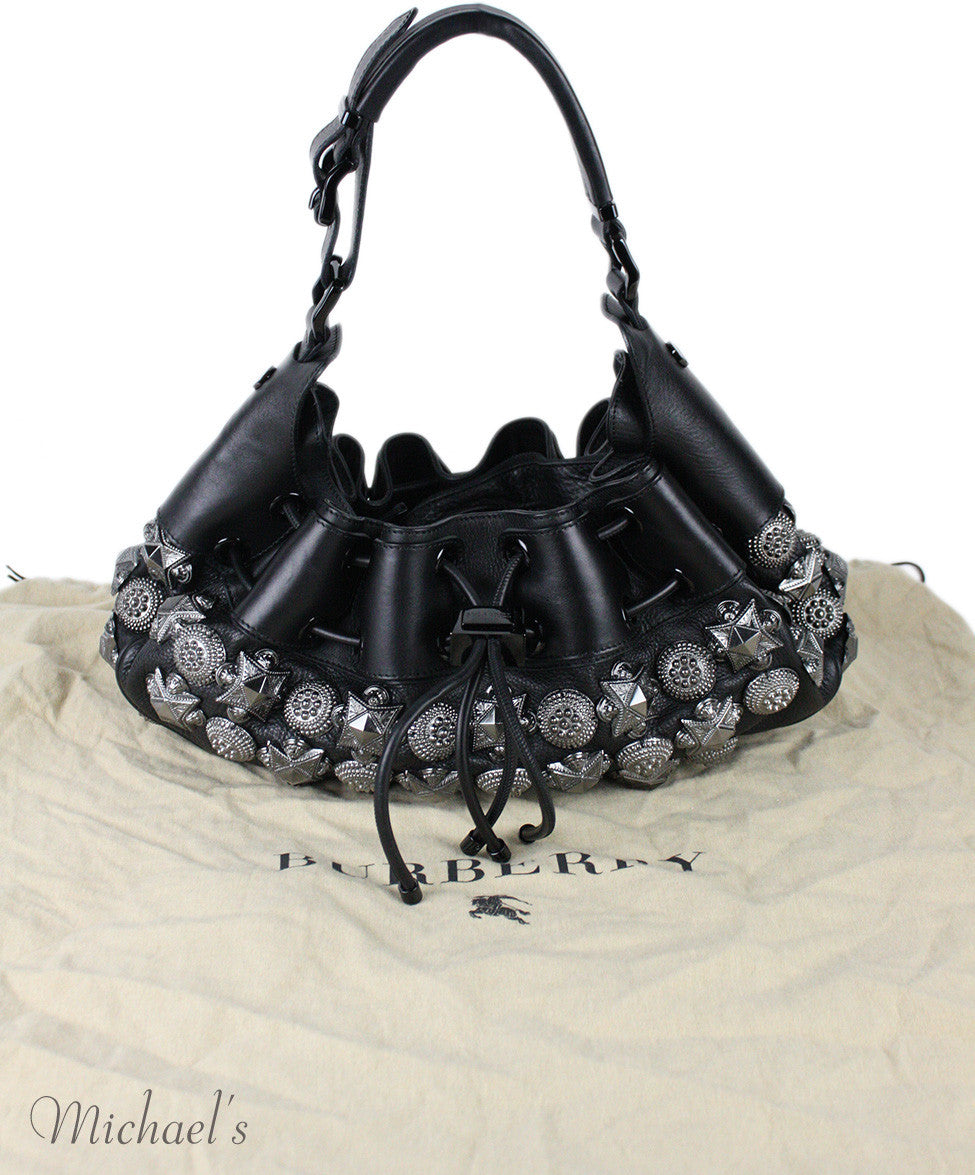 Burberry Prorsum Mason Warrior Black Leather Pewter Embellishment Hobo Bag - Michael's Consignment NYC  - 12