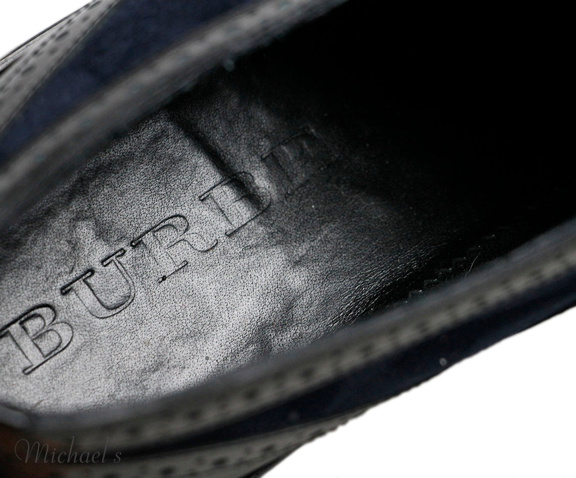 Burberry Black Navy Leather Suede Loafers Sz 40