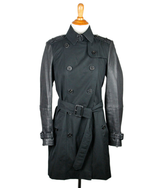 Burberry Black Poplin Leather Coat Sz 6