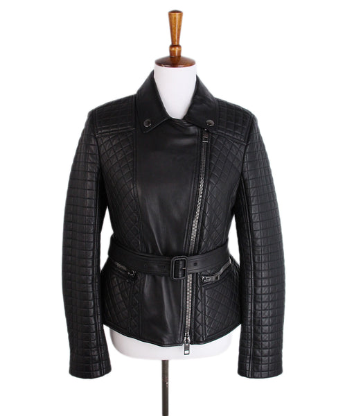 Burberry Black Quilted Leather Jacket 1