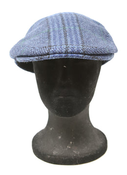 Burberry Blue and Black Plaid Wool Hat 1