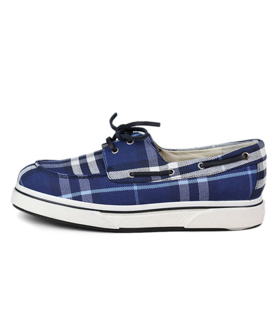 Burberry Blue Plaid Canvas Shoes 1