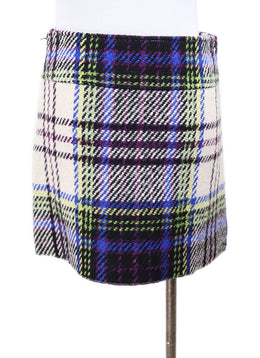 Burberry Blue Ivory Purple Plaid Wool Mini Skirt 1