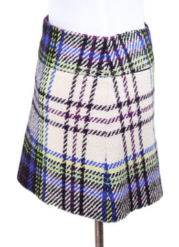Burberry Blue Ivory Purple Plaid Wool Mini Skirt 2
