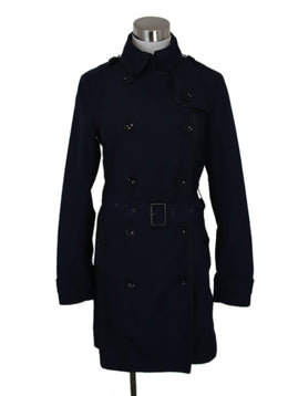 Trenchcoat Burberry Brit Blue Navy Polyester W/Belt Outerwear 1