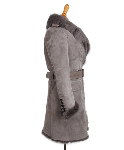 Burberry Brown Taupe Shearling Coat 1