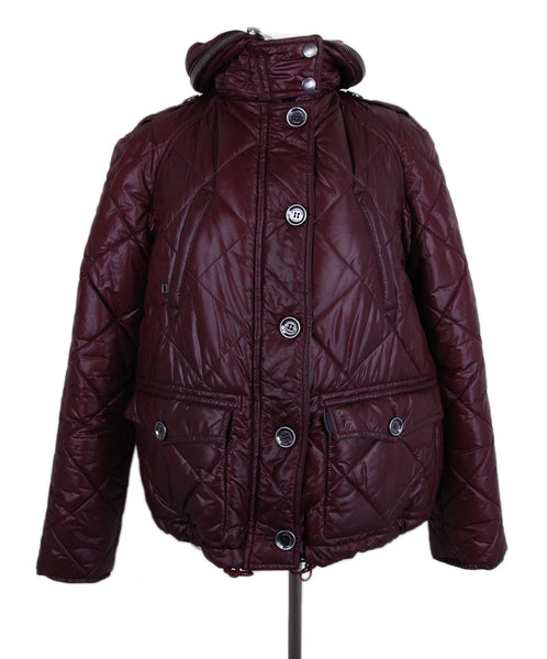 Burberry Burgundy Quilted Down Short Coat 1