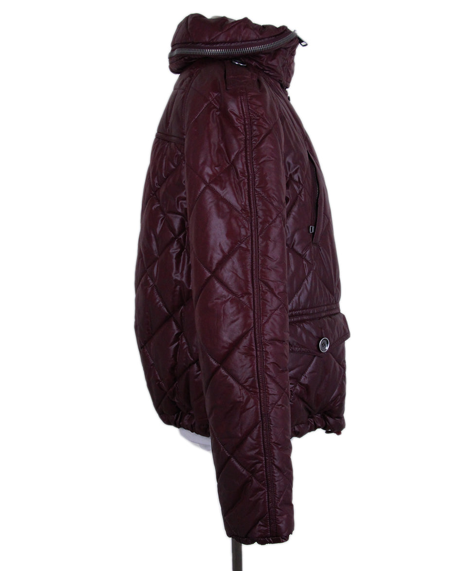 Burberry Burgundy Quilted Down Short Coat 2