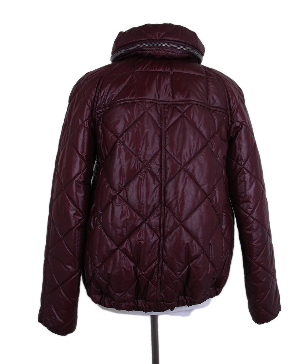 Burberry Burgundy Quilted Down Short Coat 3