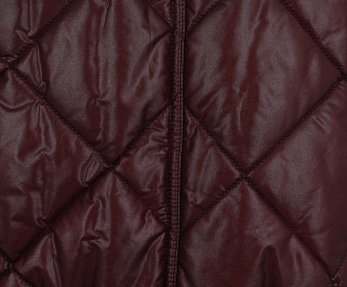Burberry Burgundy Quilted Down Short Coat 5