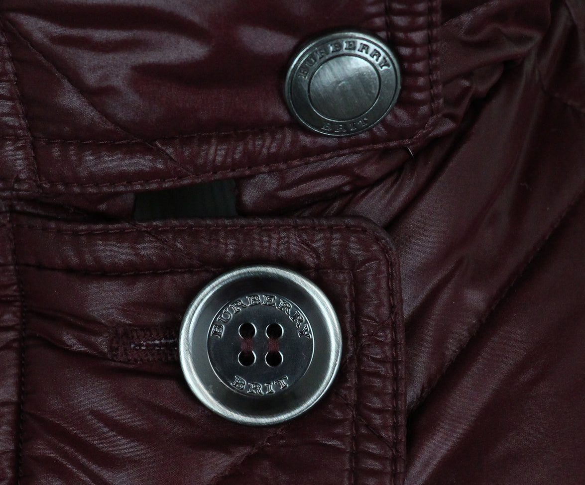 Burberry Burgundy Quilted Down Short Coat 6