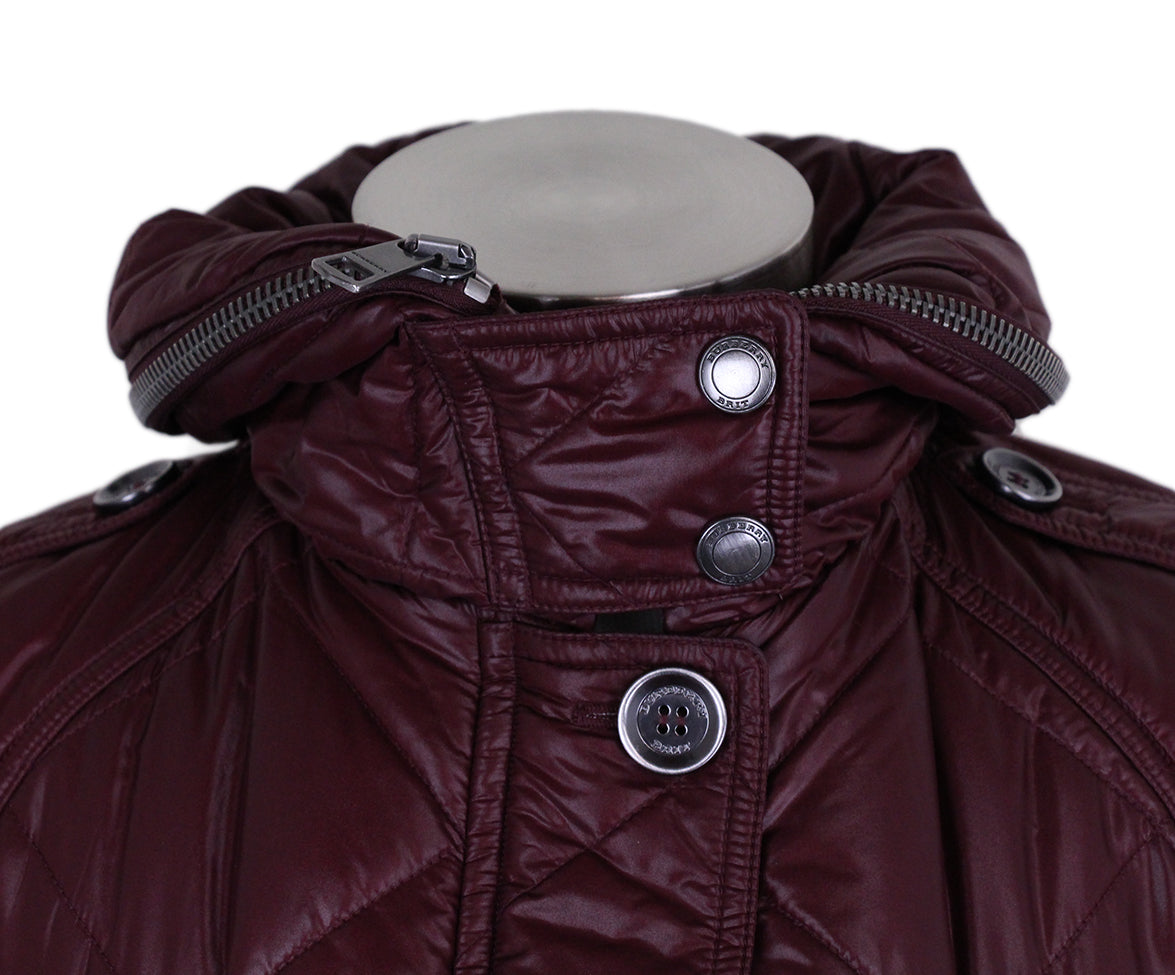 Burberry Burgundy Quilted Down Short Coat 7