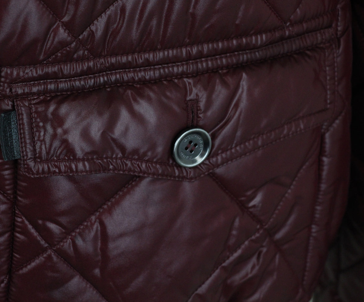 Burberry Burgundy Quilted Down Short Coat 8