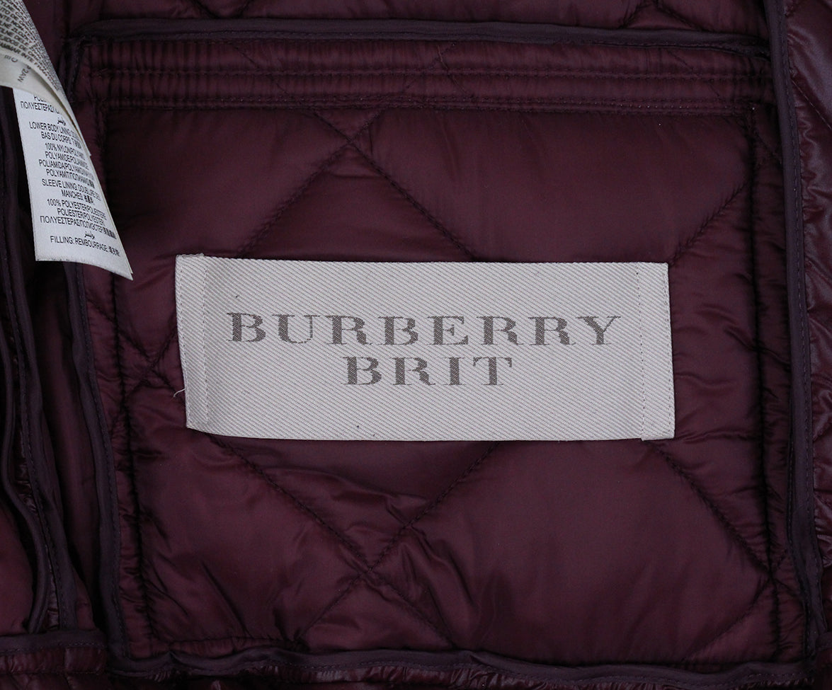 Burberry Burgundy Quilted Down Short Coat 4