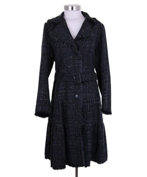 Burberry Grey Black Wool Sequins Coat 1