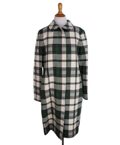 Burberry Grey Cream Plaid Wool Trenchcoat 1