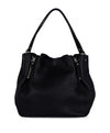 Burberry Black Leather Plaid Trim Handbag 1