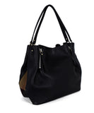 Burberry Black Leather Plaid Trim Handbag 2