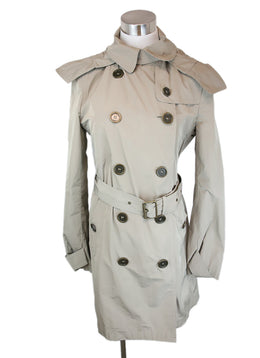 Burberry Brit Neutral Khaki Nylon W/Belt W/Hood Trenchcoat Size 8