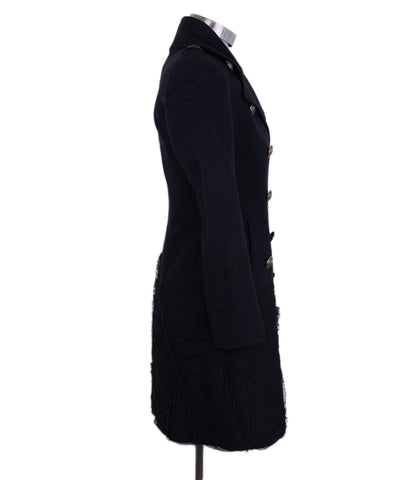 Burberry Navy Black Wool Coat 1
